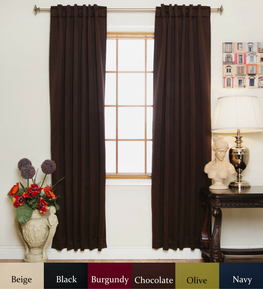 rod pocket thermal insulated blackout curtain 120 inch length pair ebay. Black Bedroom Furniture Sets. Home Design Ideas