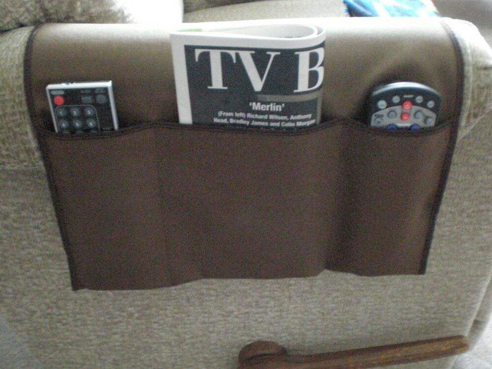 chair cozee tv remote control organizer caddy brown ebay. Black Bedroom Furniture Sets. Home Design Ideas
