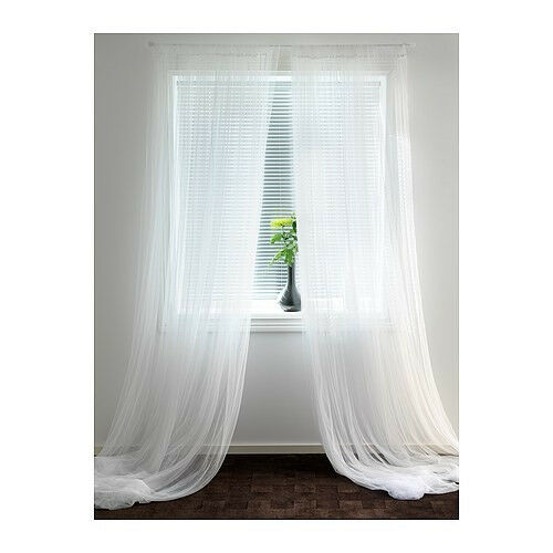 ikea lill curtains sheer net white 2 panels 110 x 98 each