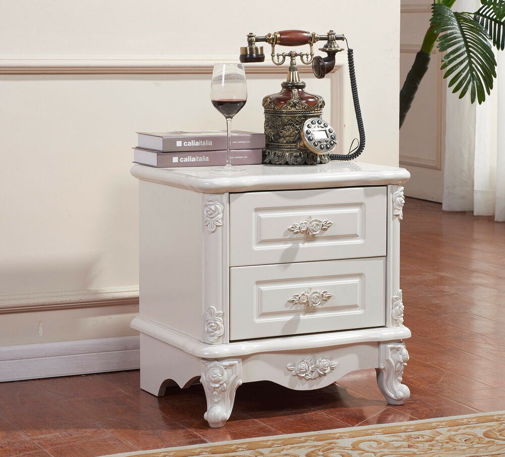 French Provincial Wooden Bedside Table White Classic