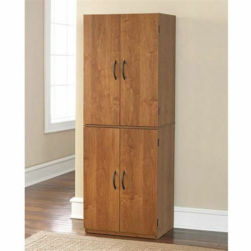 Storage Cabinet Kitchen Pantry Organizer Wood Furniture Bathroom Cupboard Shelf Ebay