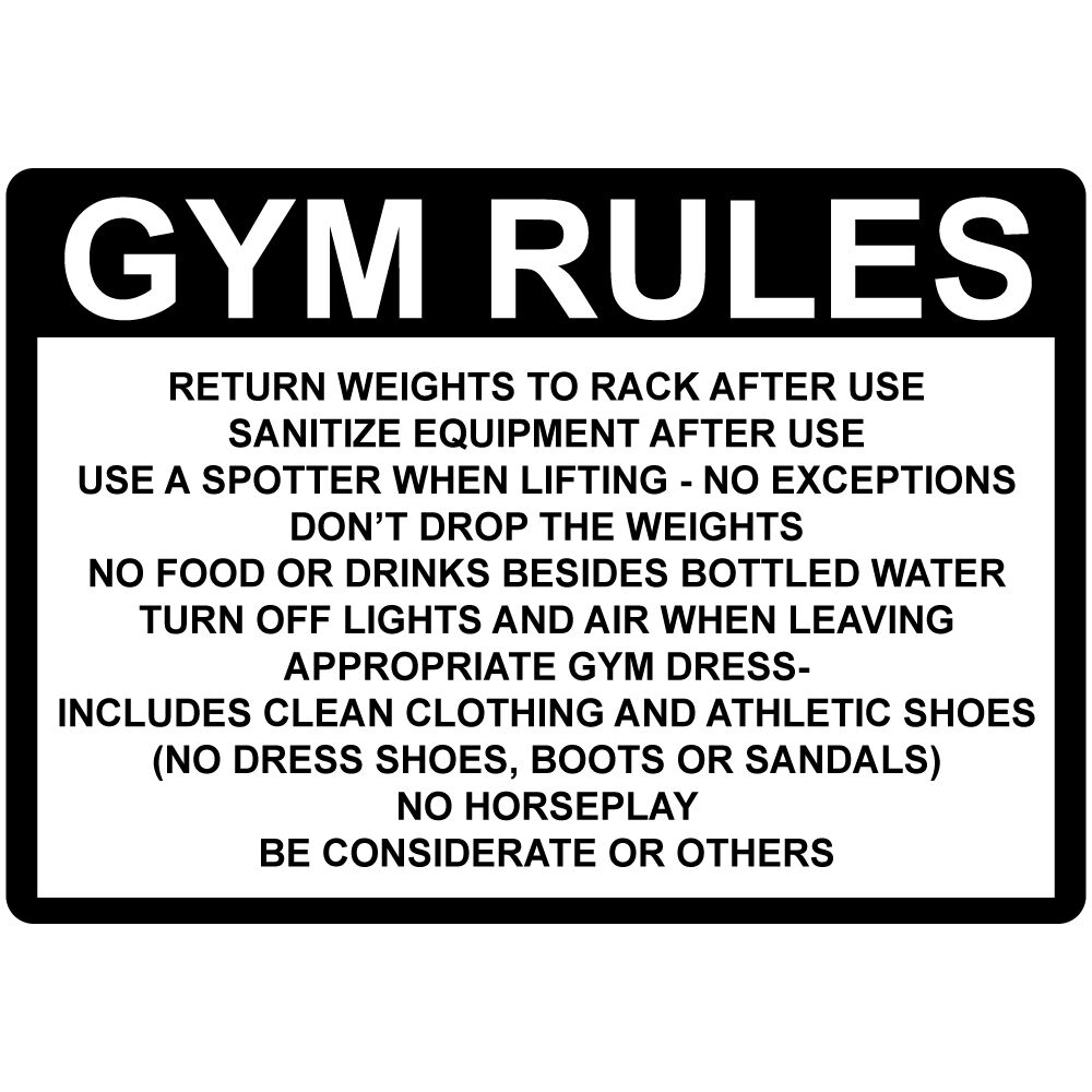 gym rules return weights rack after use sanitize aluminum