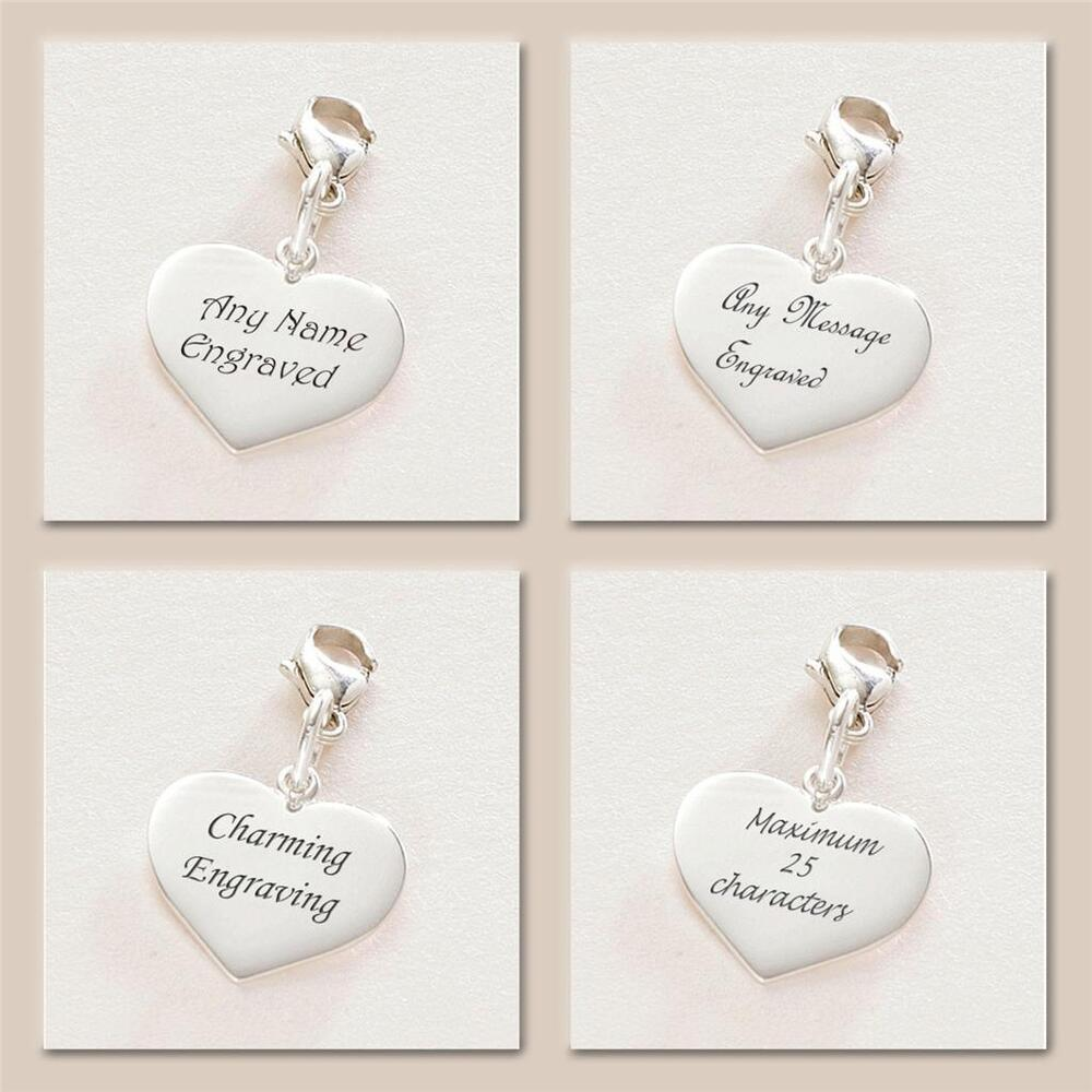 8eb58f055 Details about Sterling Silver Heart Charm Lobster Clasp Personalised  Engraved Graduation Gift