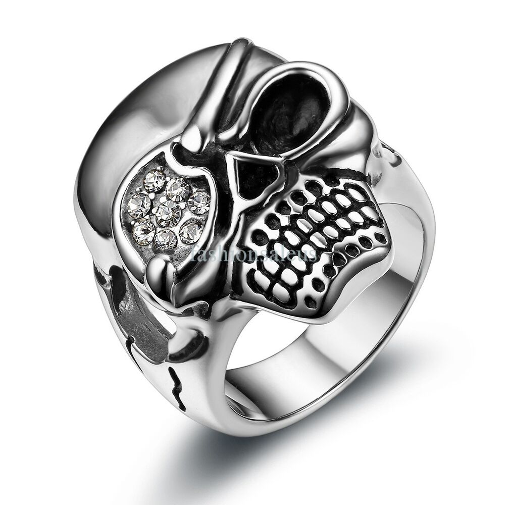 Large biker gothic skull rhinestone stainless steel ring for Biker jewelry stainless steel