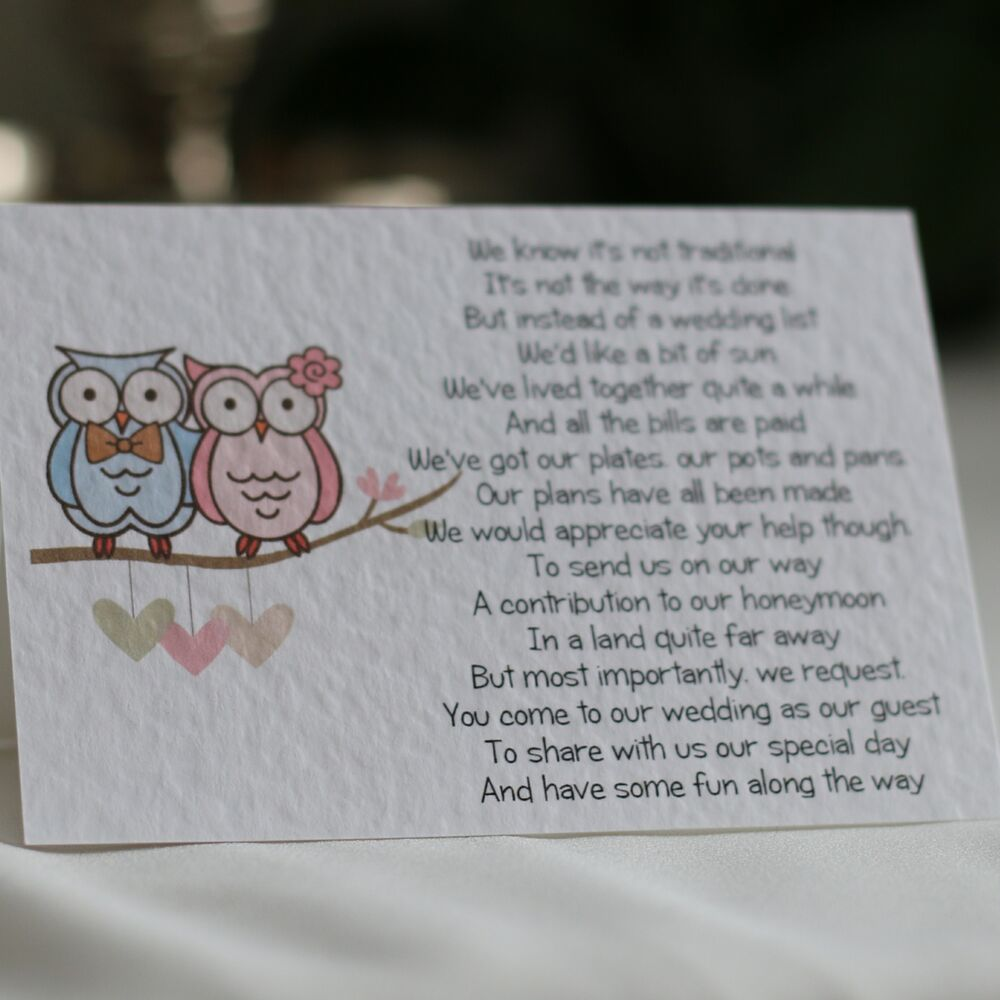 Wedding Poems For Bride And Groom: Bride / Groom Owl Wedding Poem Cards