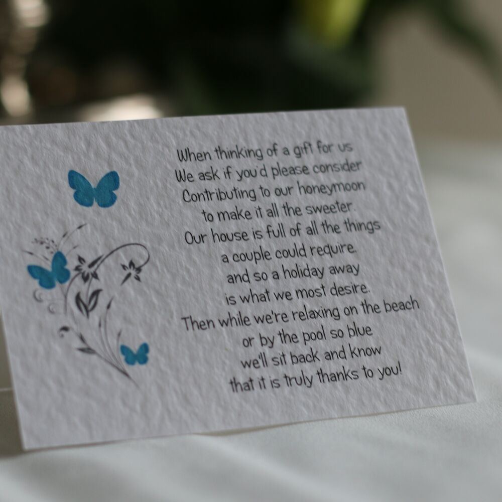Butterfly Wedding Gift Poem Cards
