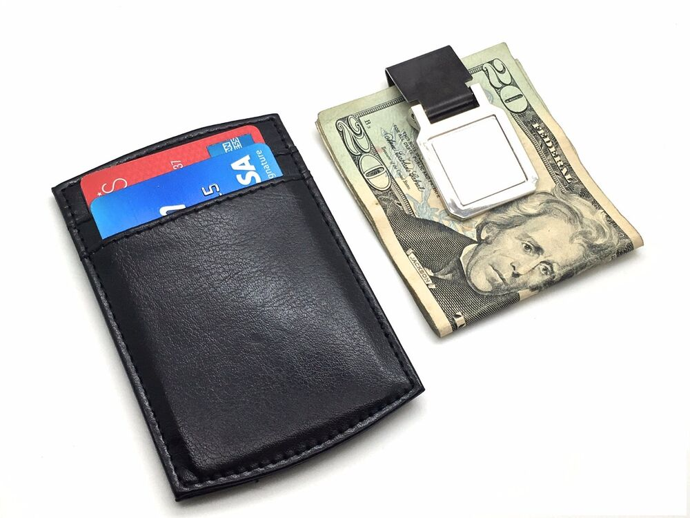 Men's Leather Wallet Credit Card ID Holder And Money Clip ...
