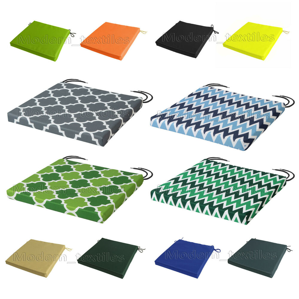 WATERPROOF Chair Cushion Seat Pads REMOVABLE COVER Patio Tie On Garden OUTDOO