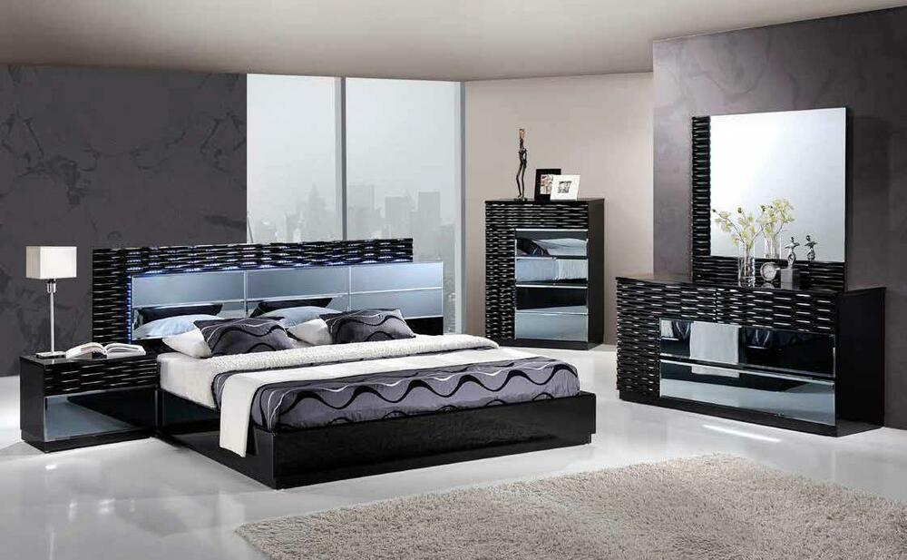 Manhattan king size modern black bedroom set 5pc global - Black queen bedroom furniture set ...
