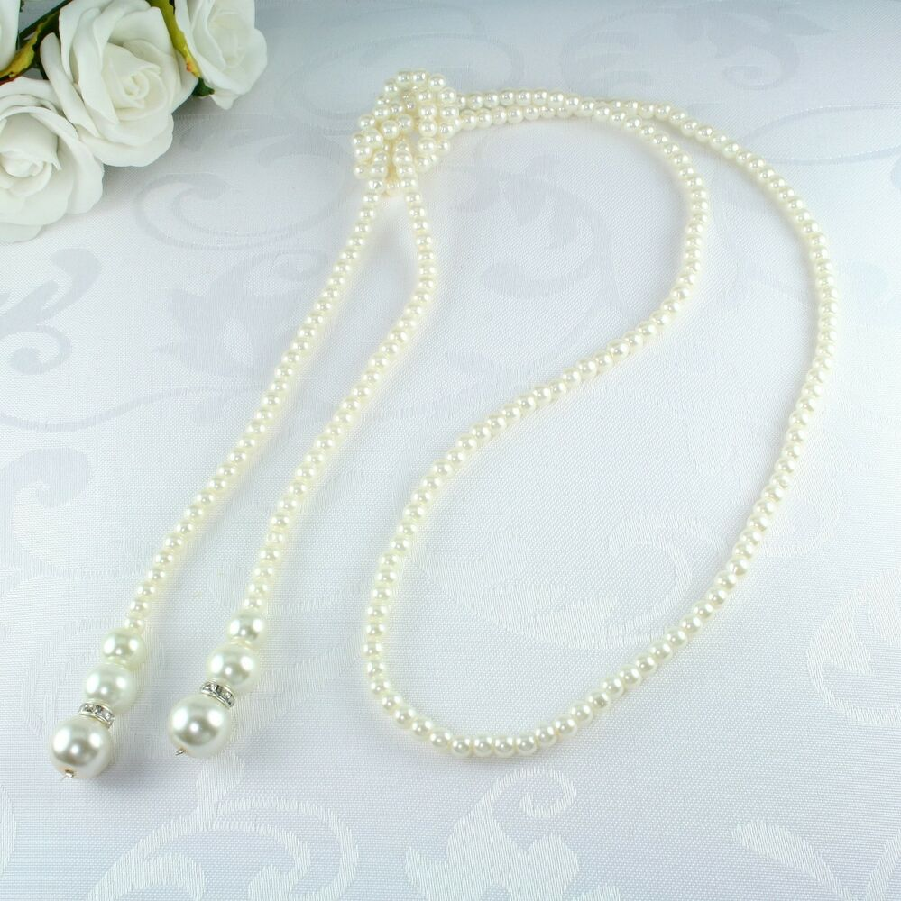 Pearl Necklace Styles: N1 Long Knotted Faux Pearl Sweater Necklace Vintage 1920s