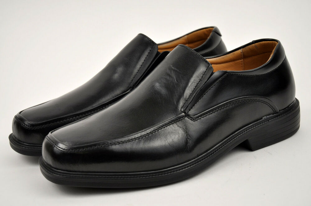 la s black genuine leather dress shoes slip on