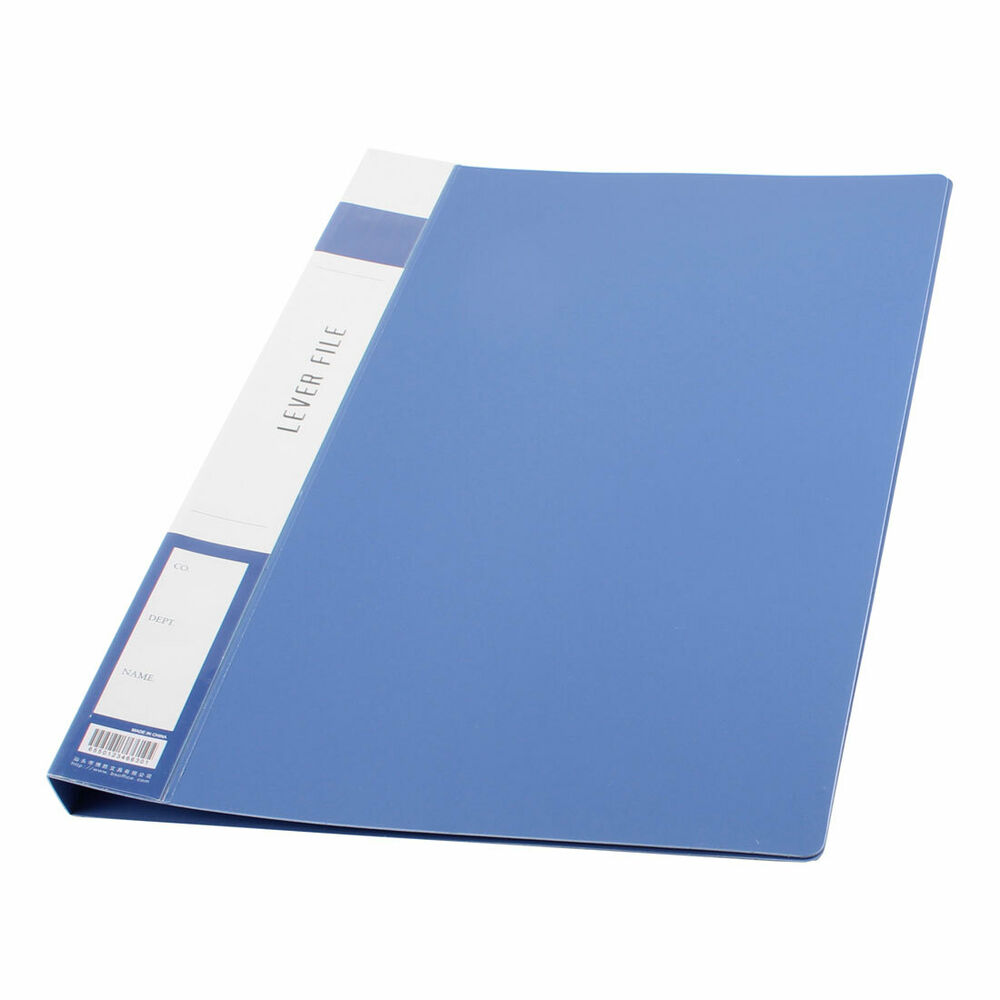 Metal Clip Binder Blue Plastic Document File Folder Holder