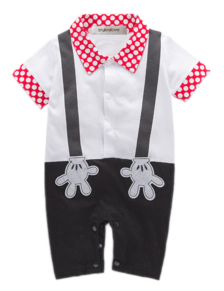 Stylesilove Baby Boy Mickey Mouse Faux Suspender Costume