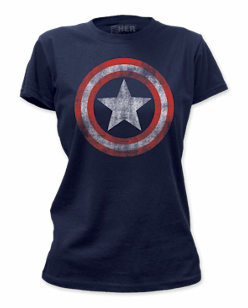 marvel captain america distressed shield womens new officialy licensed t shirt ebay. Black Bedroom Furniture Sets. Home Design Ideas