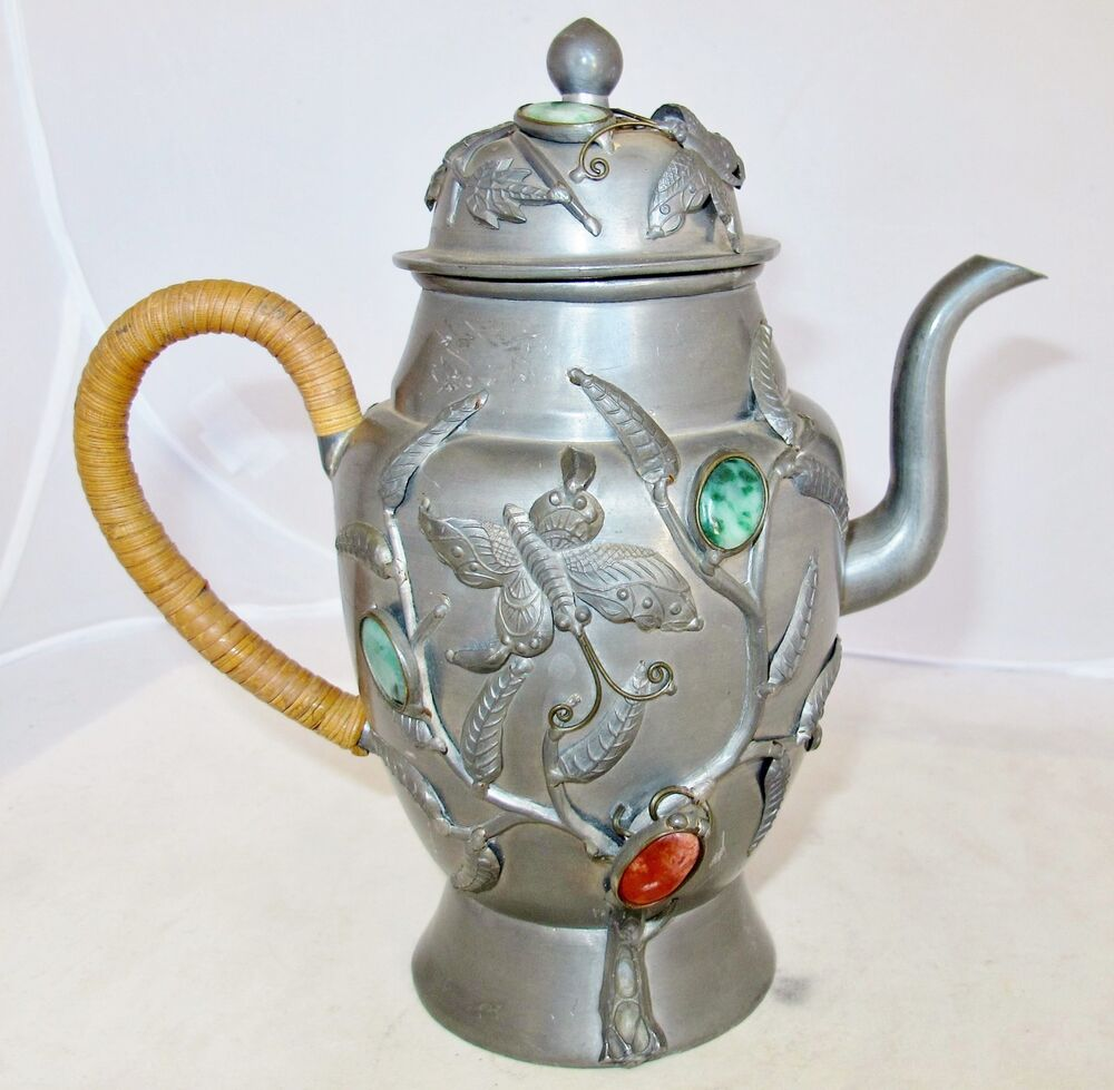 """8.2"""" Antique Chinese Pewter & Teapot with Green Jadeite ..."""