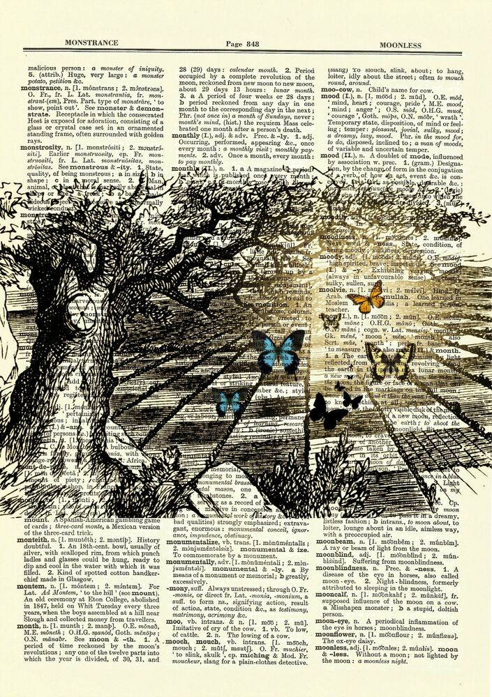 Alice In Wonderland Chess Butterfly Dictionary Art Print
