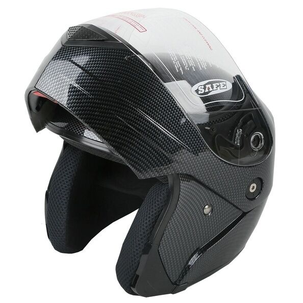 Carbon Fiber Motorcycle Helmet >> DOT Carbon Fiber Look Flip Up Modular Full Face Motorcycle Helmet Size S/M/L New | eBay