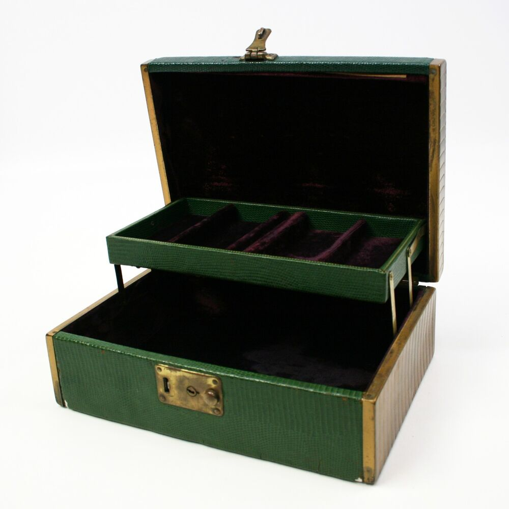 Parts repair vtg green jewelry box brass plated purple for Jewelry box with key