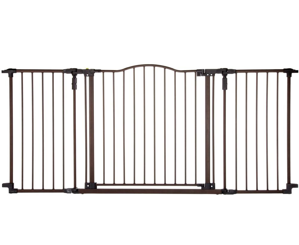 Baby Safety Gate W Door Extra Wide Metal Expandable Walk