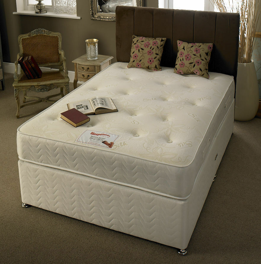 4ft by 5ft9 short bed small double quilted memory bed 4ft for Small double divan bed with headboard