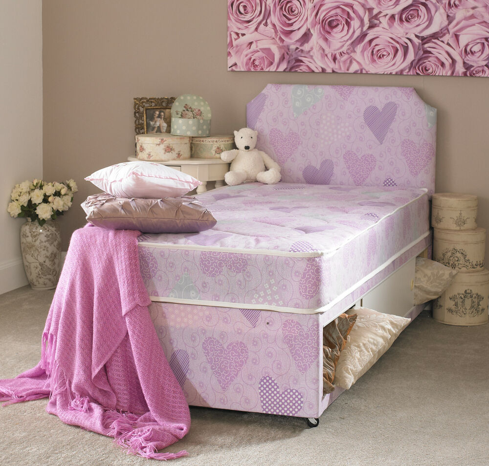 Single 3ft pink princess divan bed mattress headboard for Single divan beds with mattress and headboard