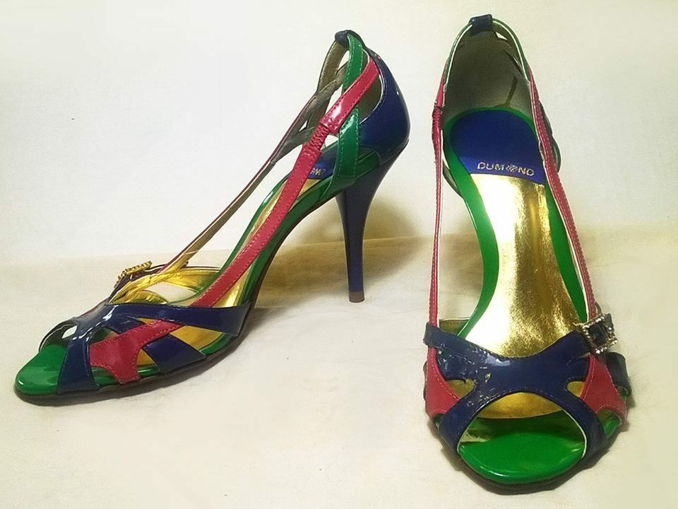 multi color open toe high heel pumps leather new