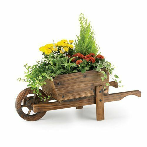 Wooden Wheel Barrels: Wheel Barrow Garden Planter Burnt Wood Wooden Modern