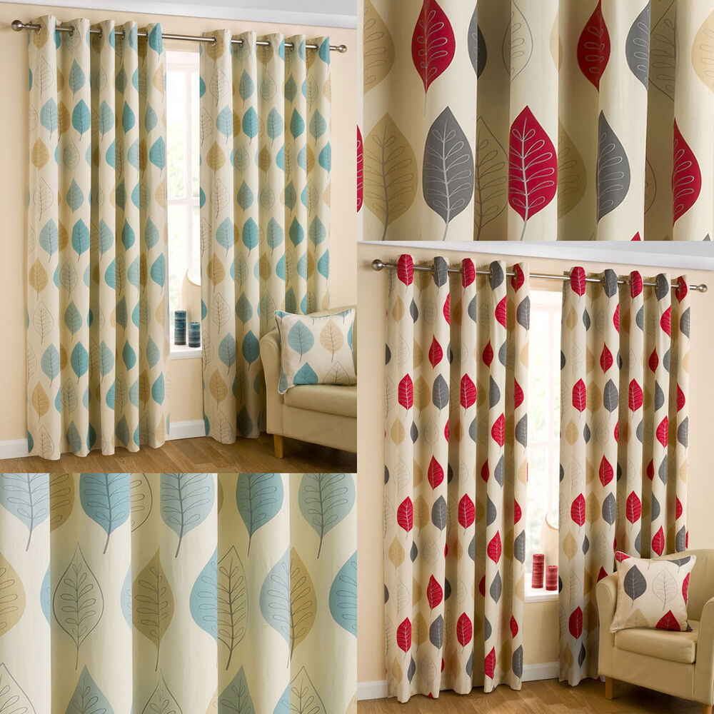 mia leaves print ready made eyelet curtains red duck. Black Bedroom Furniture Sets. Home Design Ideas