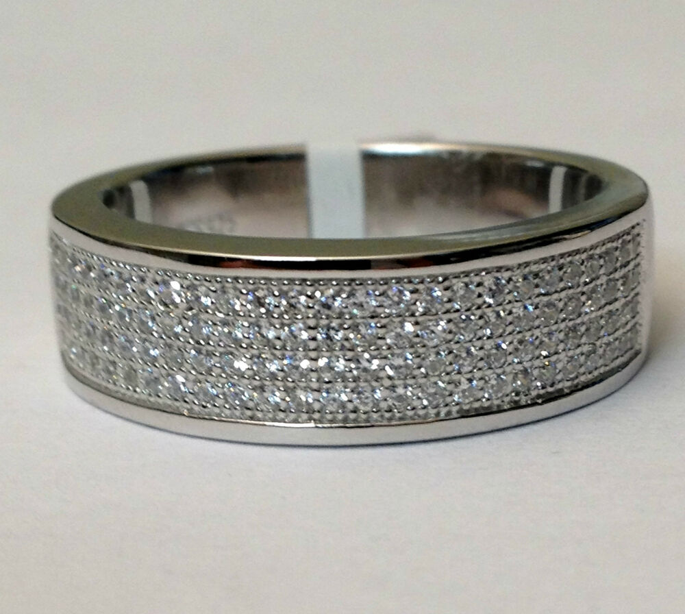 mens wedding band sterling silver anniversary ring round cz pave
