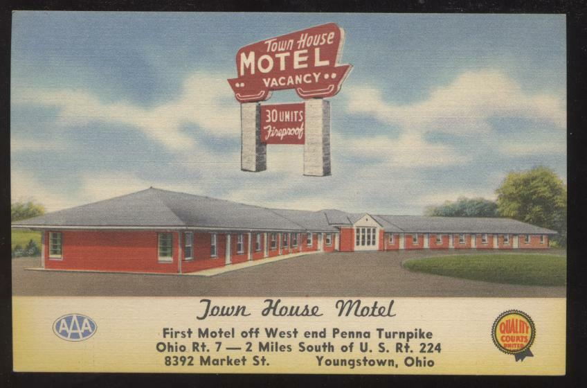 Postcard north lima oh town house motel 1950 39 s ebay for Town house motor inn