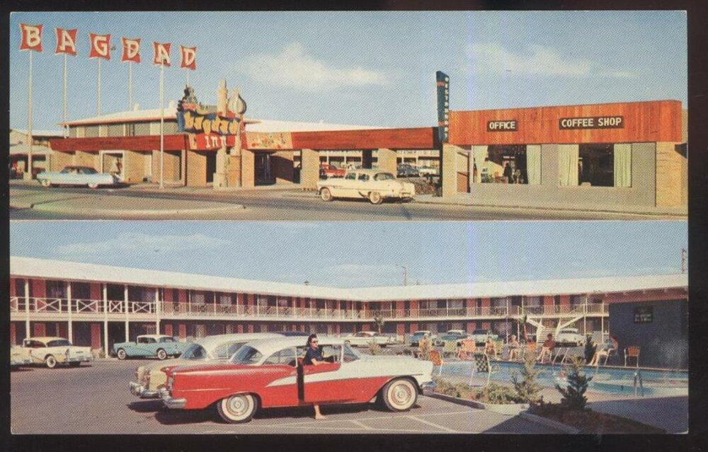 Postcard las vegas nevada nv bagdad inn motor court dual for Ebay motors las vegas