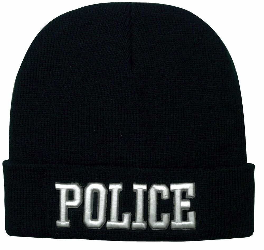 Details about Black POLICE Watch Cap Ski Hat - Deluxe 3D Raised White  Embroidered Winter Hat dfa89567dce