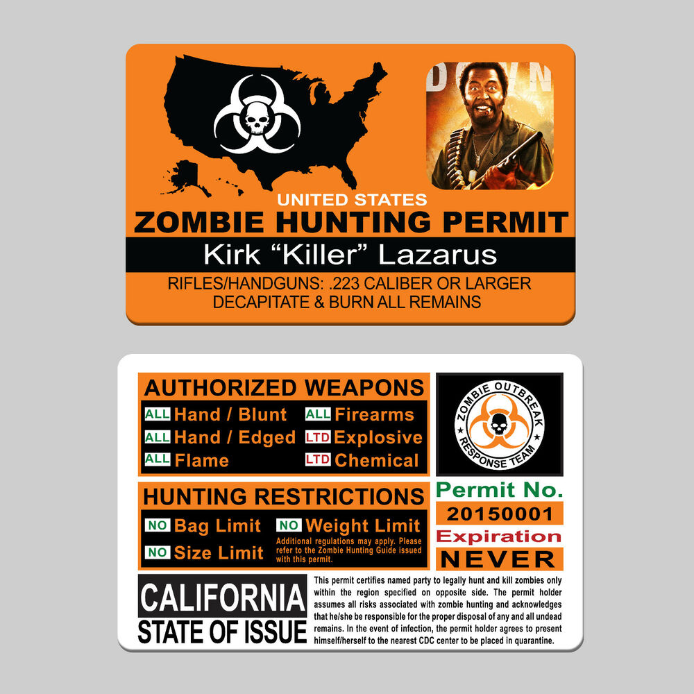 Zombie hunter license the image kid has it for Idaho fishing license