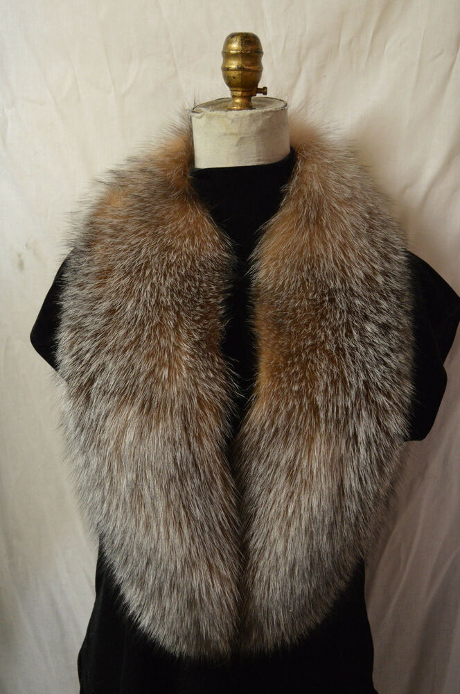 Real Crystal Fox Fur Collar Detachable New Made In The Usa