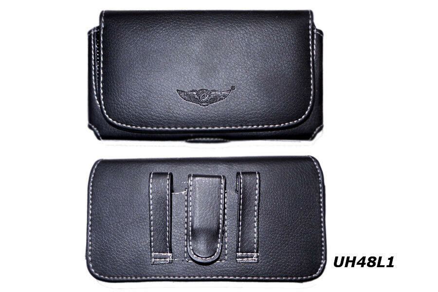 new horizontal black leather belt clip holster pouch