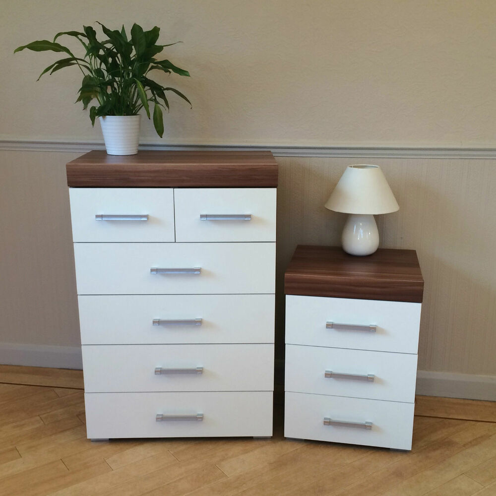 White & Walnut 4+2 Drawer Chest & 3 Draw Bedside Cabinet