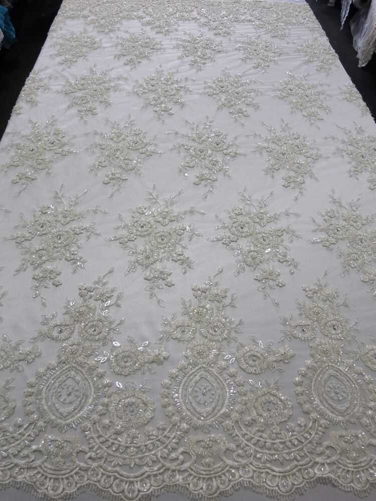 Off White Bridal Mesh W Embroidery Beaded Lace Fabric