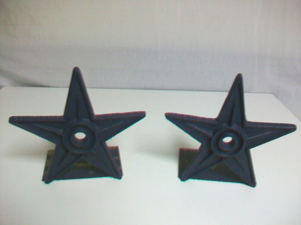 Blue Painted Metal Star Shaped Bookends Door Stops Ebay