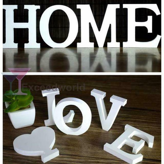 10 Home Decor Stores We Love: White Wooden Letters Love Bridal Party Home Shop Name