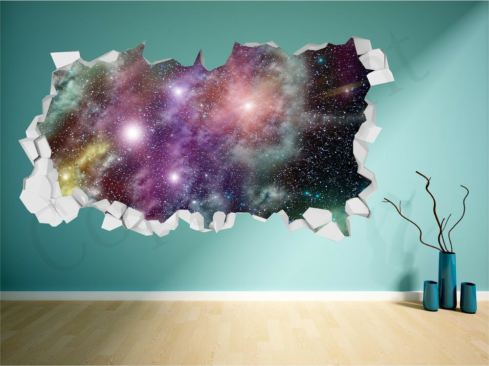 Diy Galaxy Wall Decor : Space brick crumbled wall fantasy star galaxy d art