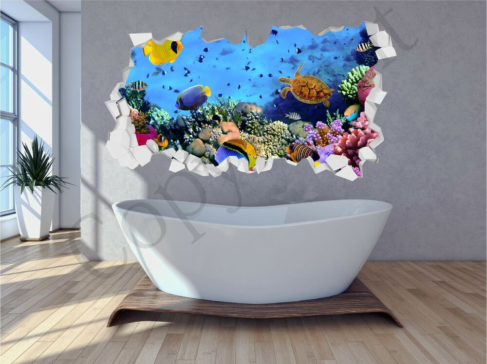 Sea aquarium under water brick crumbled wall 3d wall art for 3d aquarium wallpaper for bedroom