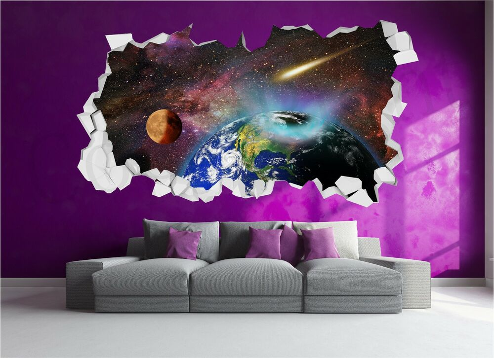 earth space planets stars brick crumbled wall 3d wall art sticker decal ec1 ebay. Black Bedroom Furniture Sets. Home Design Ideas