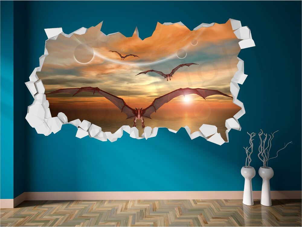 Dragon Dinosaur Fantasy Brick Crack Wall 3d Wall Art Sticker Decal Transfer Ebay
