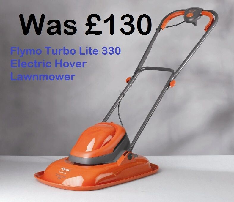 flymo turbo lite 330 electric hover lawnmower orange garden lawn cutter flt330 5011759012232 ebay. Black Bedroom Furniture Sets. Home Design Ideas