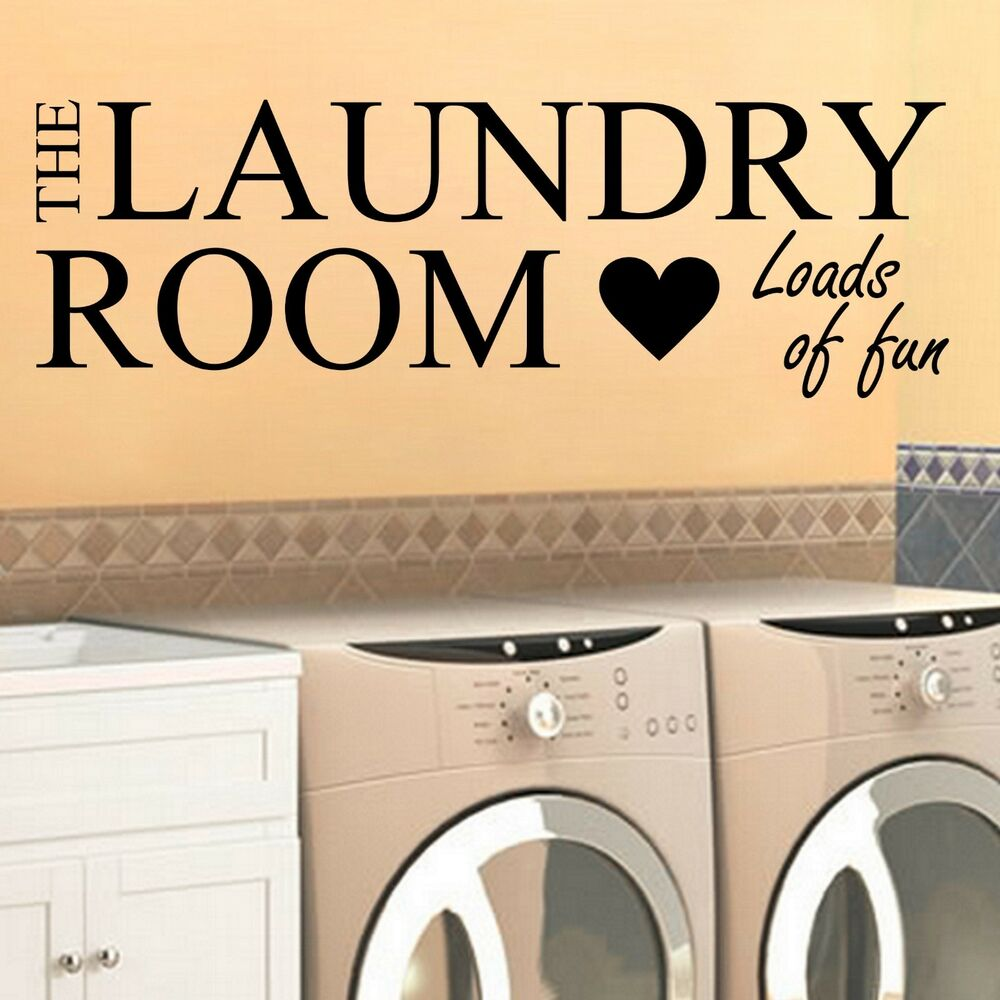 Laundry room loads of fun wall vinyl decal sticker home - Laundry room wall decor ...