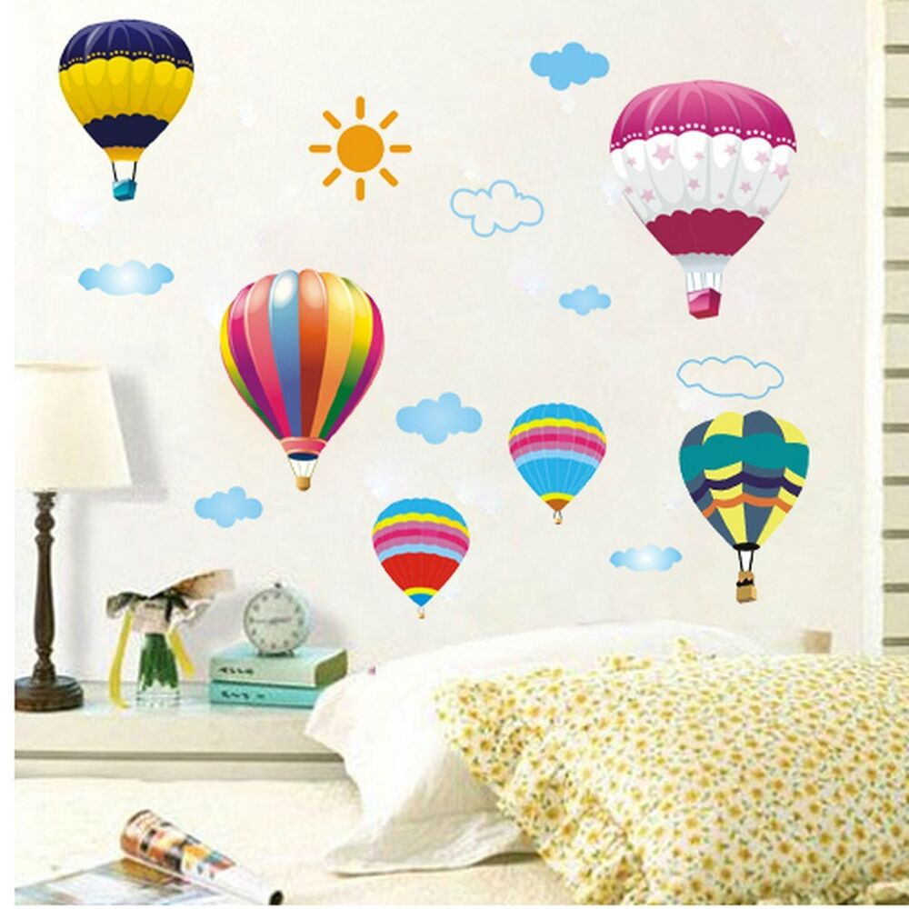 Diy wall decal sticker removable kid hot air balloon for Balloon cloud decoration