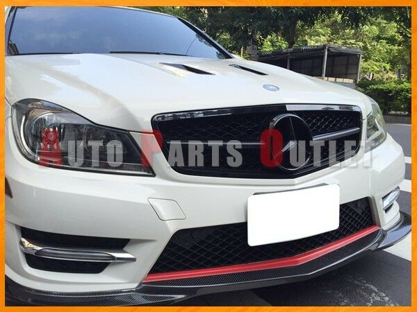 Gloss black c63amg look front grille for mercedes benz for Mercedes benz grille