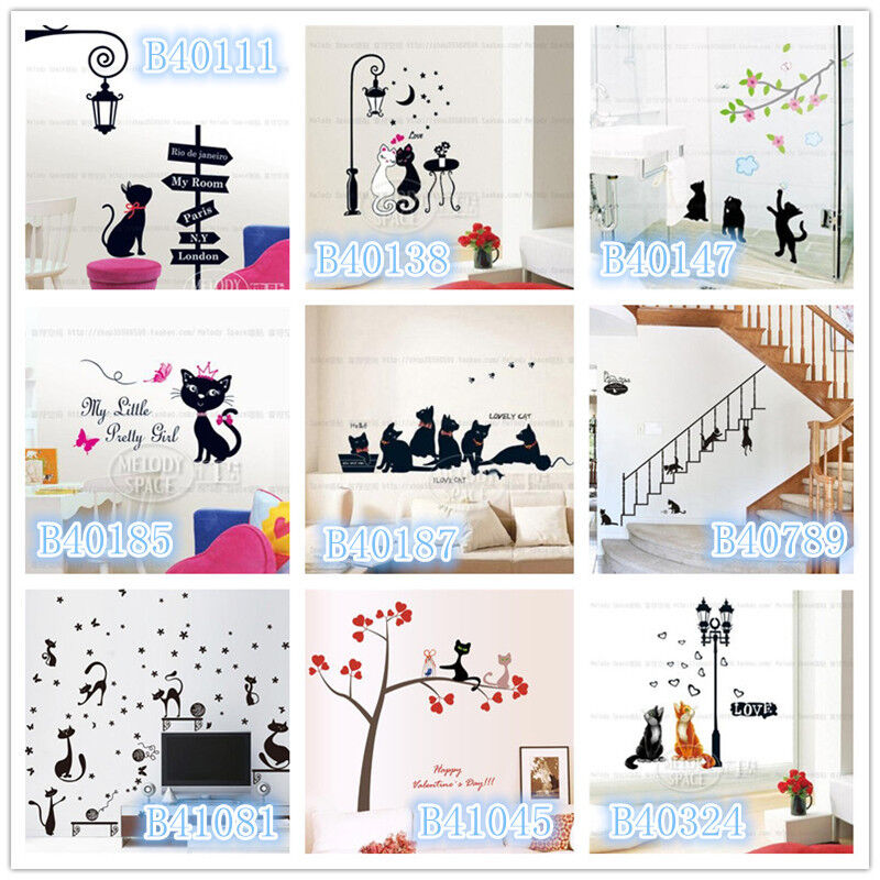 Black Cat Home Room Decor Removable Wall Sticker Decal