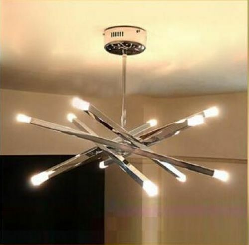 New 12 Lights Chrome Rod Star Pendant Lamp Ceiling Hanging