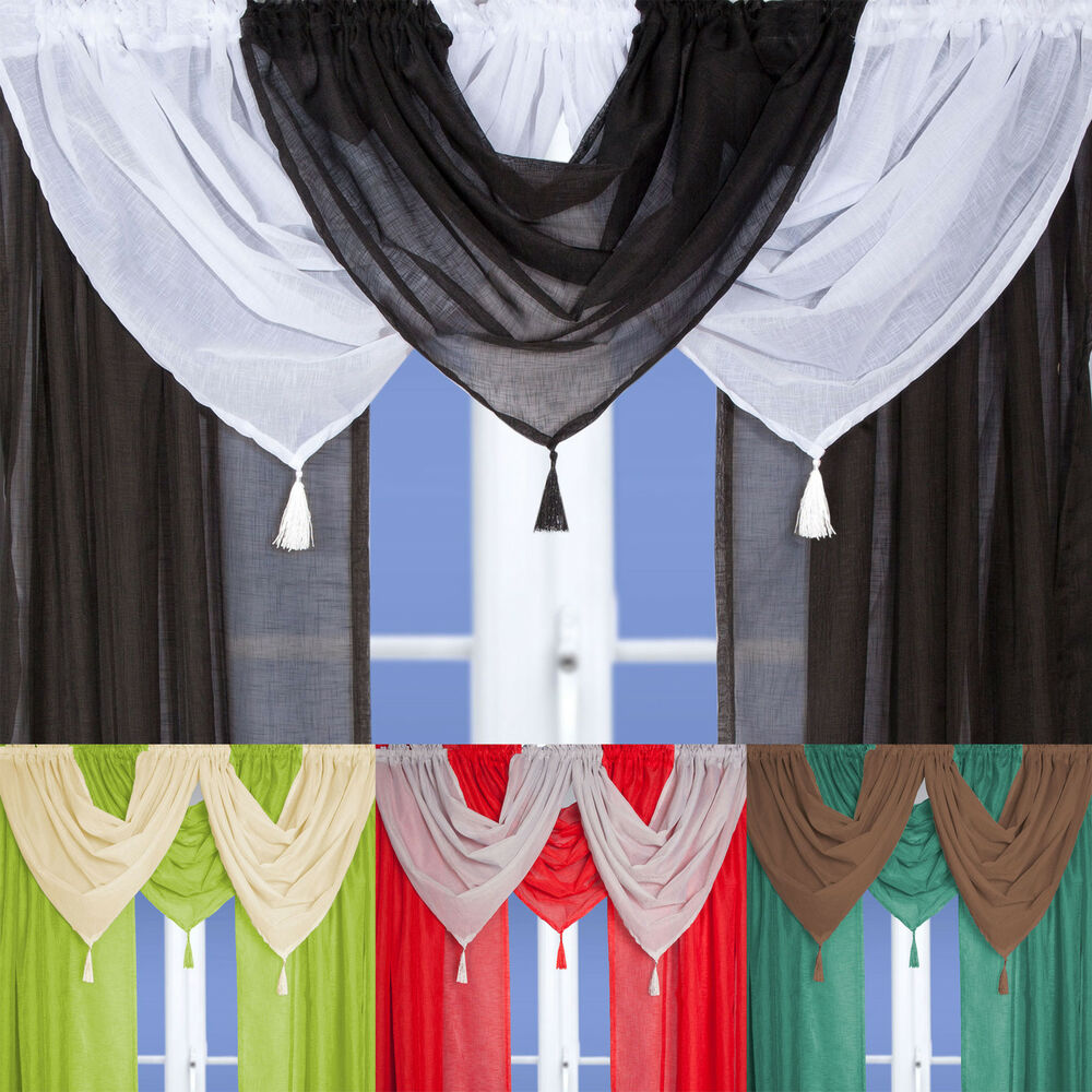 Linen Effect Voile Curtain Swags